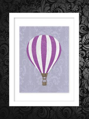 Poster Hot air balloon Lila