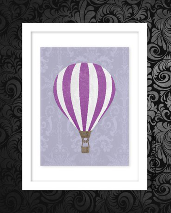 Poster Hot air balloon Lila