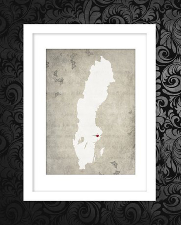 Sverigekarta gammeldags bakgrund grå