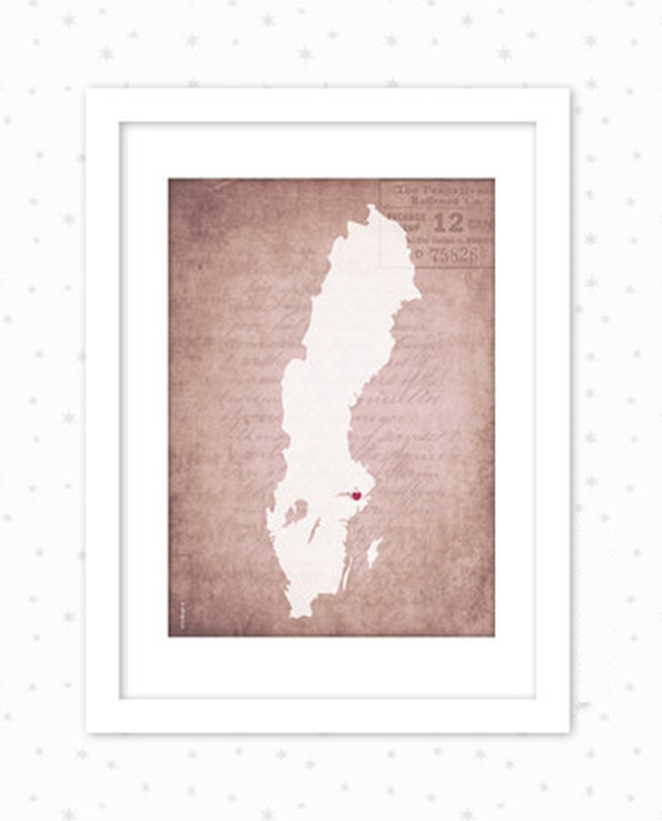 Sverigekarta gammeldags bakgrund rosa