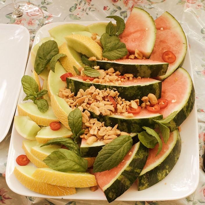 Melon med chili och jordnötter