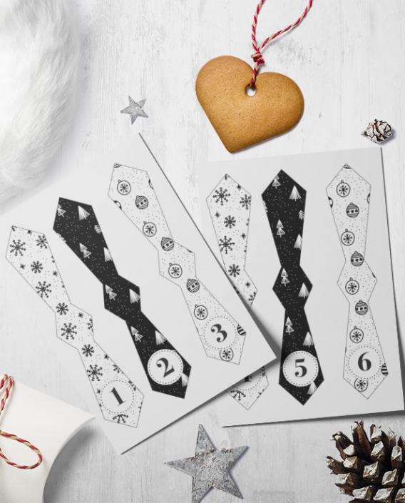 Slipsetiketter till adventskalender i vit/svart