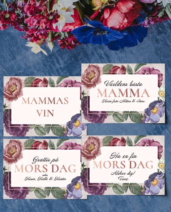 Vinetiketter Mamma Blommor