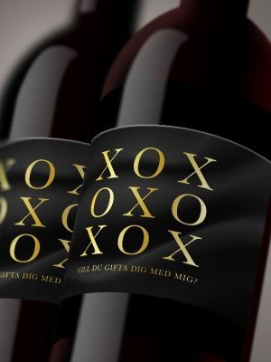 Vinetiketter XOXO svart